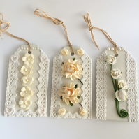 Cream Flowers & Lace Gift Tags - set of 3