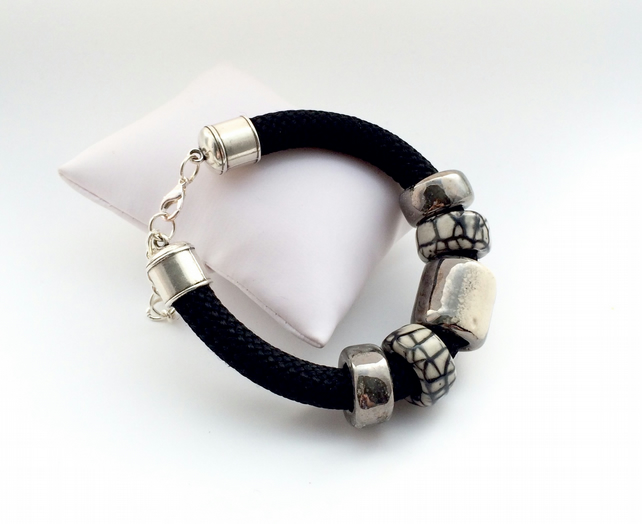 Black cord & ceramic bead bracelet