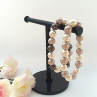 Coffee & Cream Swarovski Pearl Bracelet Set