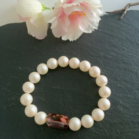 SALE White Swarovski Pearl and Swarovski Rose Crystal Bracelet