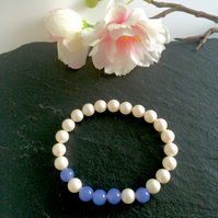 White Pearl and Pale Blue Jade Bracelet