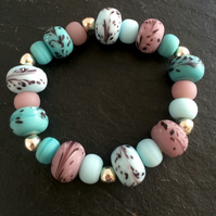 Turquoise, Lilac & Pale Blue Glass Beaded Bracelet