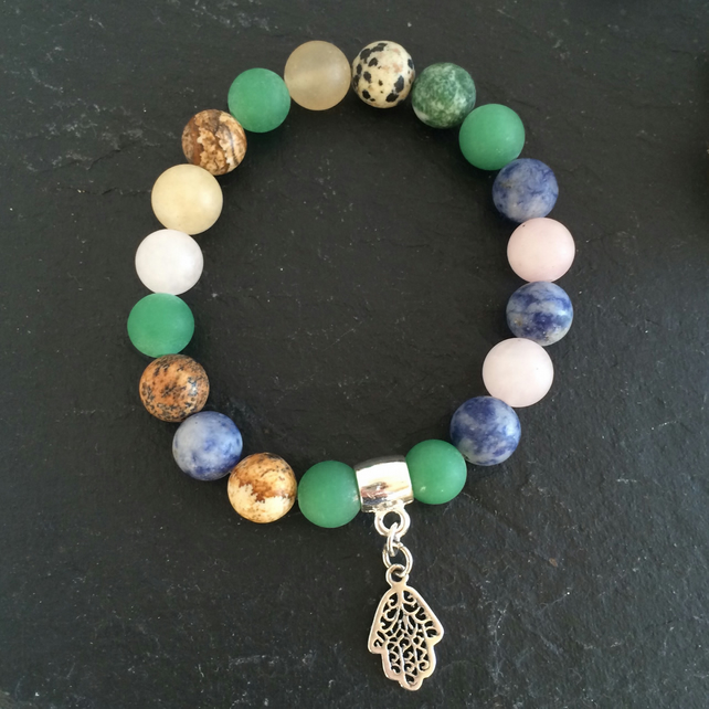 Mixed Gemstone and Sterling Silver Hamsa Charm Bracelet