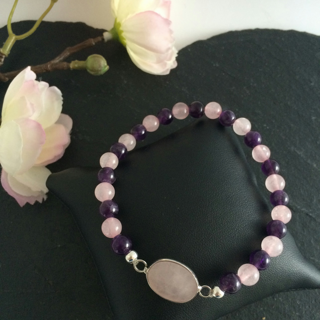 Rose Quartz and Amethyst Beaded Bracelet