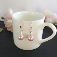 Sterling Silver and Pink Swarovski Pearl Earrings