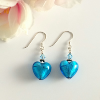 Turquoise Murano Glass & Sterling Silver Earrings