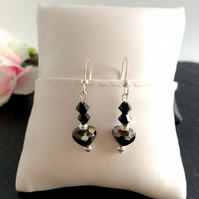 SALE - Jet Swarovski Cystal & Sterling Silver Earrings