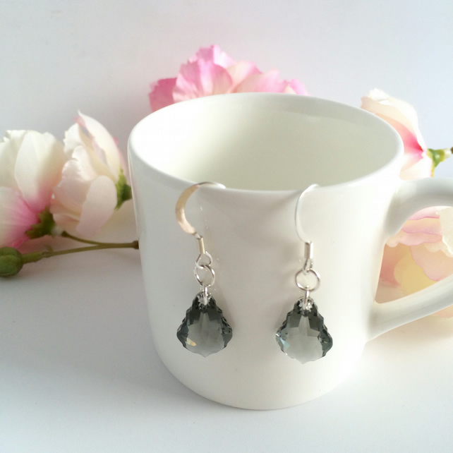 Smokey Grey Swarovski Crystal Sterling Silver Earrings