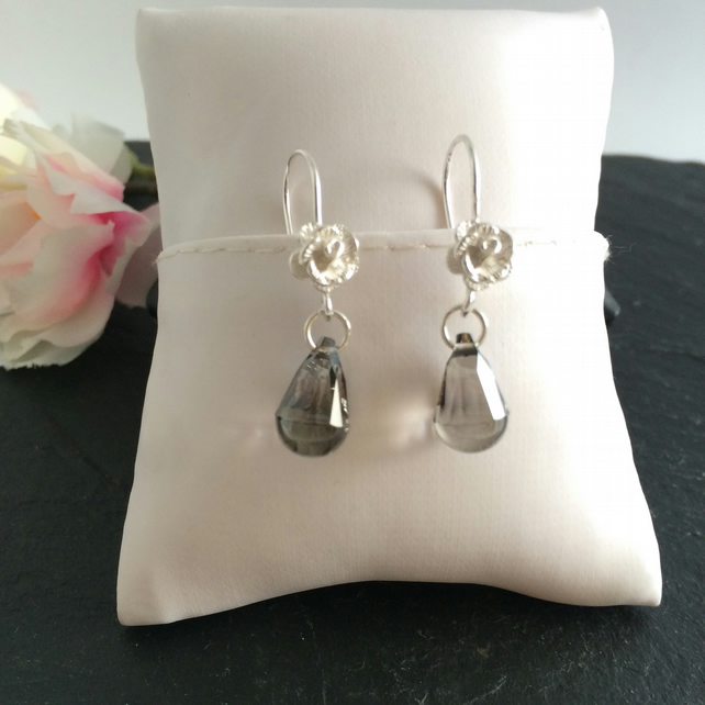 Grey Swarovski Crystal & Sterling Silver Earrings