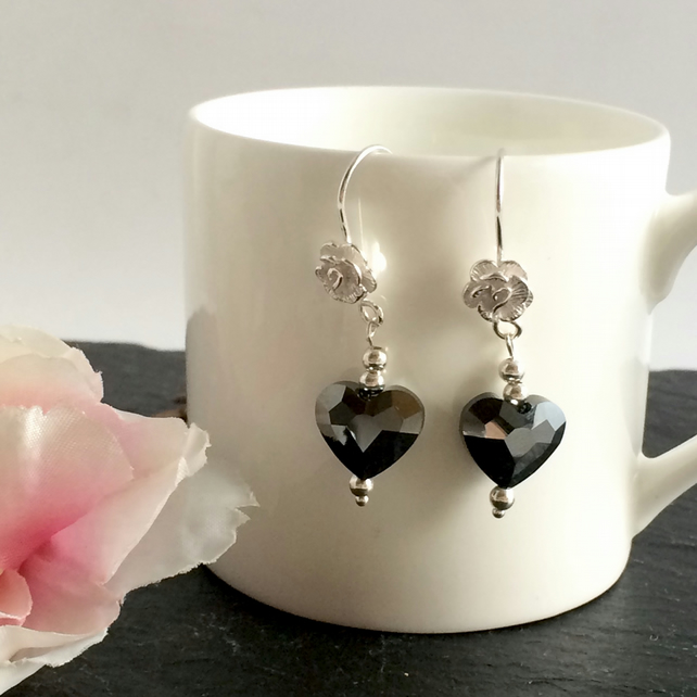 Jet Swarovski Crystal Sterling Silver Earrings