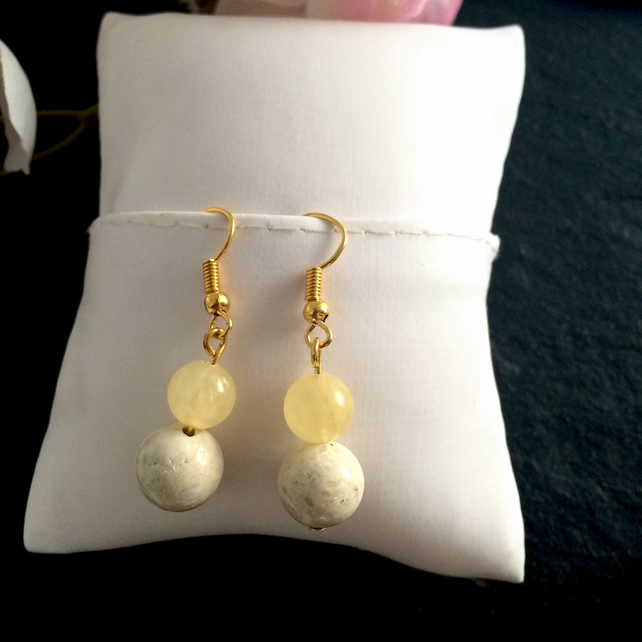 Cream Gemstone Gold Plated Earrings