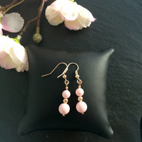 Pink Swarovski Pearl and Rose Gold Plate Earrings