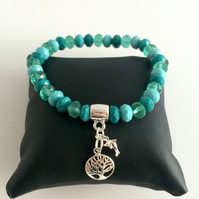Jade Colour Mix Crystal Stretch Bracelet with Sterling Silver Charms