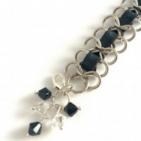 Black Leather and Silver Plated Chain Bracelet
