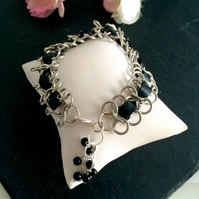 Silver Plated Chain and Black Leather Bracelet with Gemstones