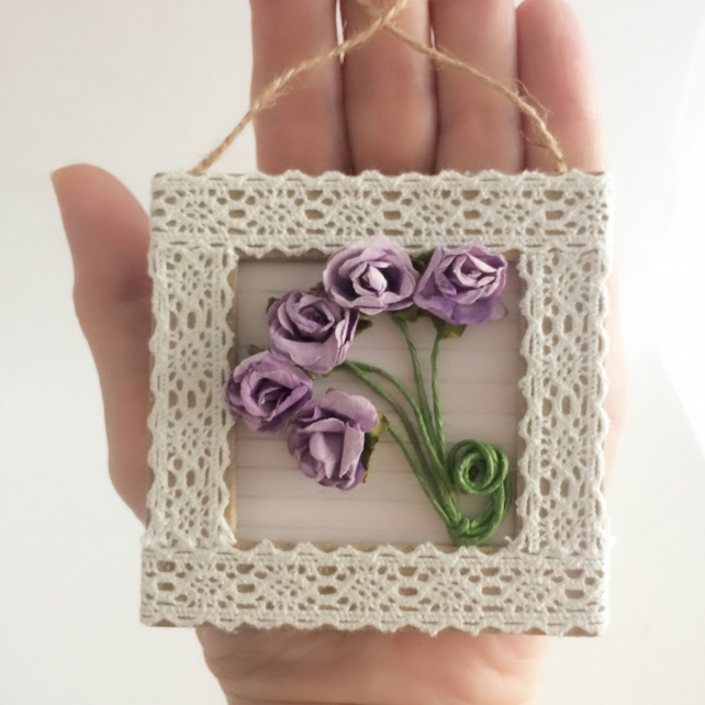 Cream Lace and Lilac Flowers Mini Frame Picture