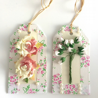Pink & White Roses Gift Tags - set of 2