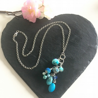 Turquoise Beaded Long Chain Necklace