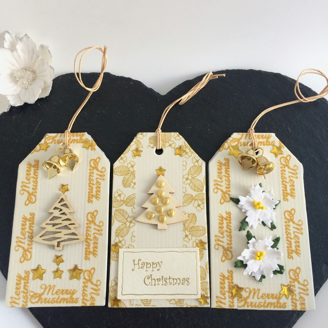 Reduced - Trees, Bells & Poinsettias Christmas Gift Tags (set of 3)