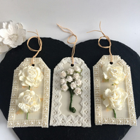 Cream & Ivory Roses, Pearls & Lace Gift Tags - set of 3
