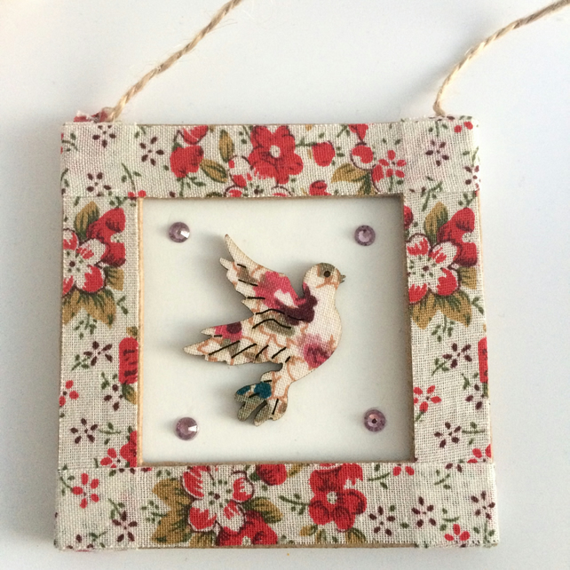 Red Floral Dove Mini Frame Picture
