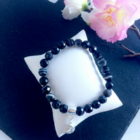 Black Sardonyx and Sterling Silver Moon Bracelet