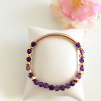 Amethyst & Rose Gold Plated Stretch Bracelet