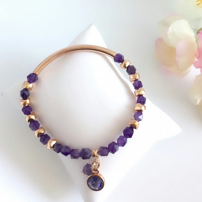 Amethyst & Rose Gold Plated Stretch Bracelet (with charms)