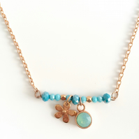 Rose Gold Plated & Aqua Charm Necklace