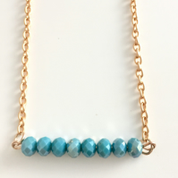 Rose Gold Plated & Aqua Beaded Necklace