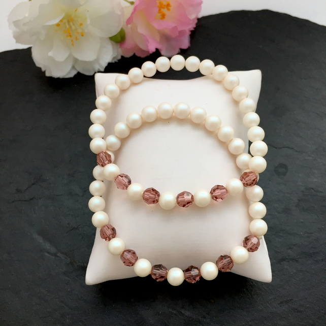 Cream Pearl and Rose Crystal Bracelets - set of 2