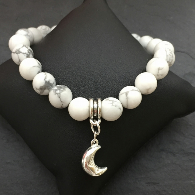 White Howlite and Sterling Silver Moon Bracelet