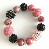 Pink, white & black beaded stretch bracelet
