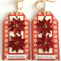 Red Glitter Poinsettias Christmas Gift Tags - set of 2