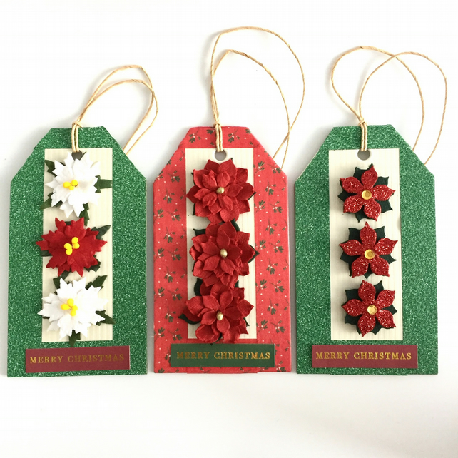 Red, White & Green Christmas Gift Tags - Set of 3