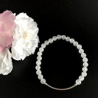 White Jade and Sterling Silver Stretch Bracelet