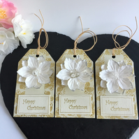 Cream & White Flower Christmas Gift Tags (set of 3)