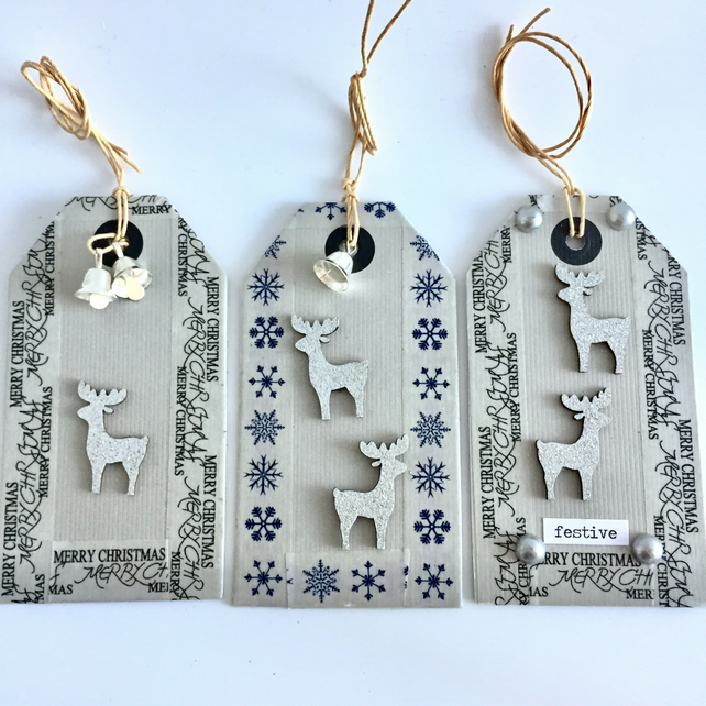 Reindeers & Silver Bells Christmas Gift Tags (set of 3)