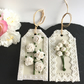 Creamy White Paper Flowers gift tags - set of 2