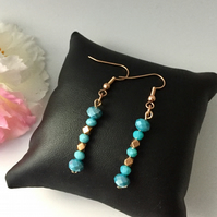 Rose Gold & Aqua Beaded Drop Earrings