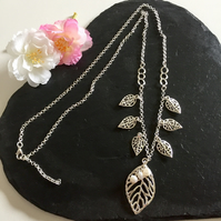 Silver Plated Leaves & Freshwater Pearls Long Necklace