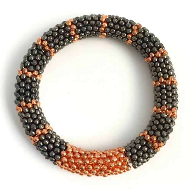 Gunmetal and Copper Stretch Bracelet