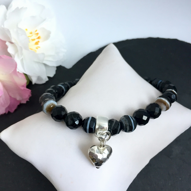 Black Sardonyx and Sterling Silver Heart Charm Bracelet