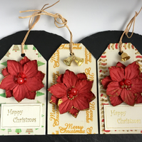 Red Poinsettias & Gold Bells Christmas Gift Tags - set of 3