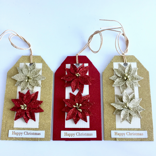 Red & Gold Glitter Flower Christmas Gift Tags - set of 3