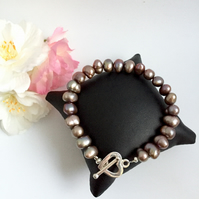 SALE Coffee Coloured Freshwater Pearl Bracelet with Sterling Silver Heart Clasp