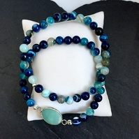 Sea Green Striped Agate Stretch Bracelets - Set of 2