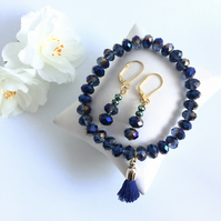 Dark Blue Faceted Crystal Tassle Bracelet and Earring Set