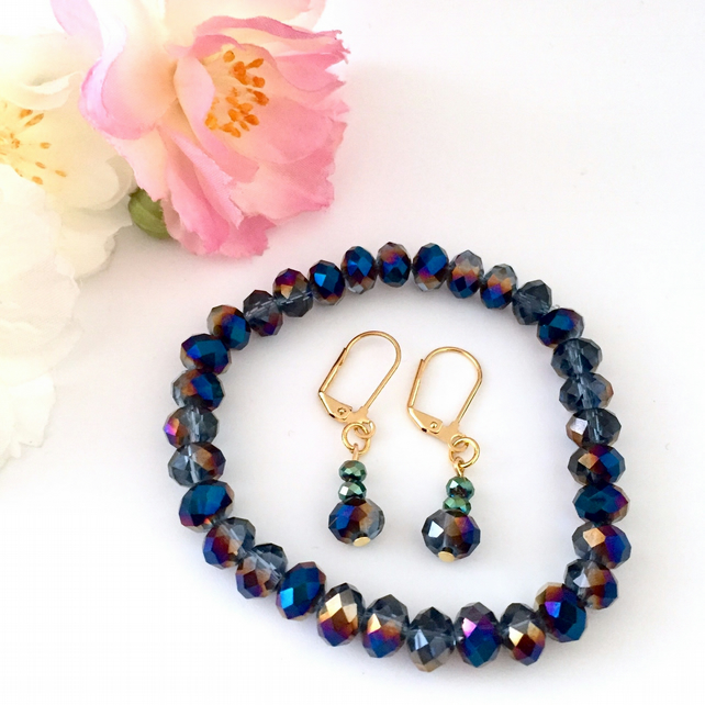 Dark Blue Faceted Crystal Bracelet and Earring Set