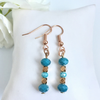 Turquoise Aqua & Rose Gold Beaded Drop Earrings
